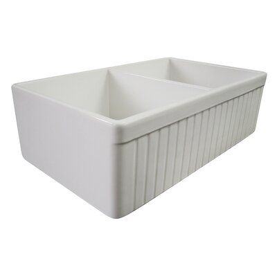 32.75 x 19.88 Double Bowl Fluted Farmhouse Kitchen Sink Finish: White