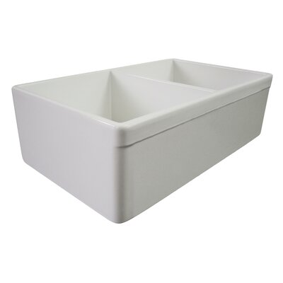 32.75 x 19.88 Double Bowl Farmhouse Kitchen Sink Finish: White