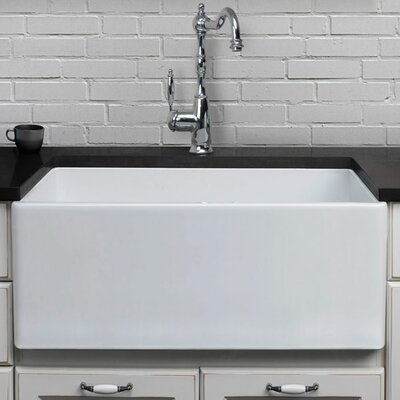 25.5 x 17.25 Farmhouse Kitchen Sink Finish: White