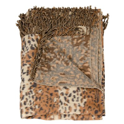 Snow Leopard Throw Blanket Color: Rust