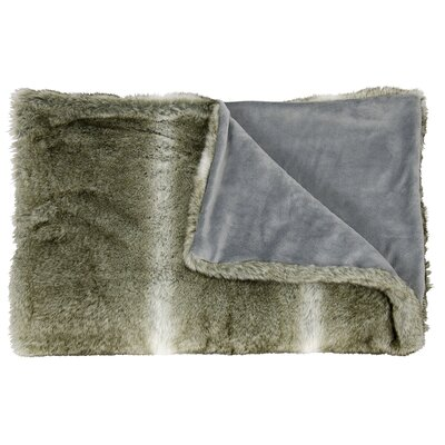 Faux Wolf Fur Throw Blanket Color: Silver Grey