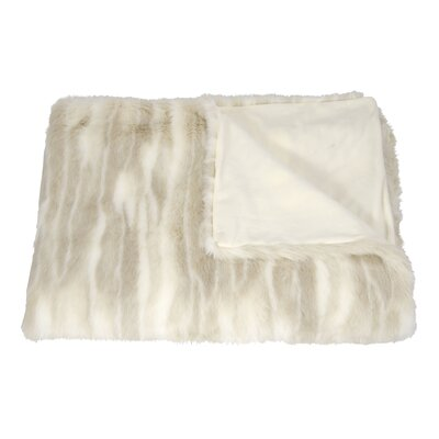 Faux Wolf Fur Throw Blanket Color: Beige