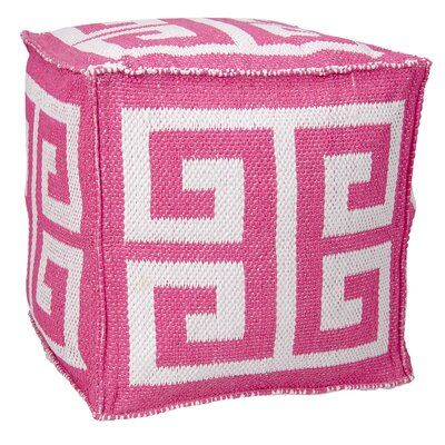 Greek Key Ottoman Color: Hot Pink