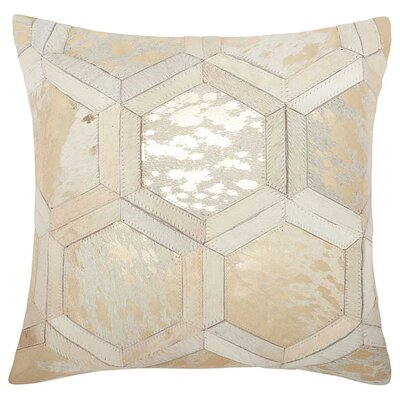 Priyanka Natural Leather Hide Throw Pillow Color: White Gold