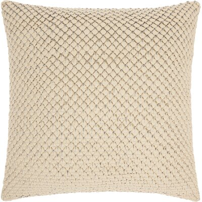 Kavita Woven Leather Throw Pillow Color: White