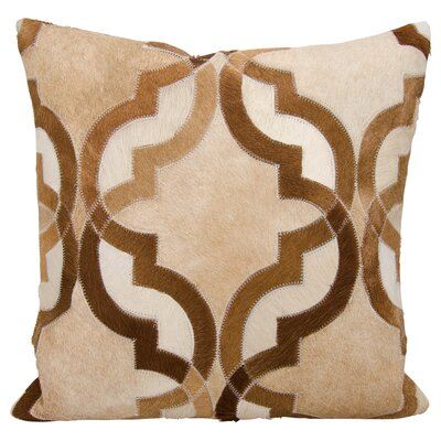 Stokes Natural Leather and Hide Throw Pillow Color: Amber/Beige