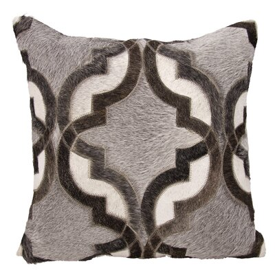 Stokes Natural Leather and Hide Throw Pillow Color: Gray