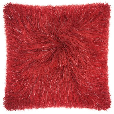 Andrewson Shag Throw Pillow Color: Red