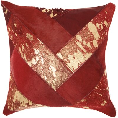 Boquillas Leather Throw Pillow Color: Burgundy/Gold