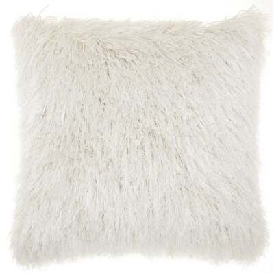 Bowyer Shag Throw Pillow Color: White/Cream