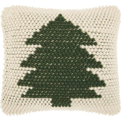 Home for the Holidays Wool Throw Pillow Color: Green/Ivory