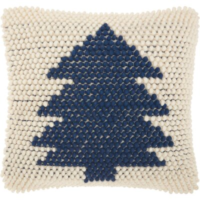 Home for the Holidays Wool Throw Pillow Color: Navy/Ivory