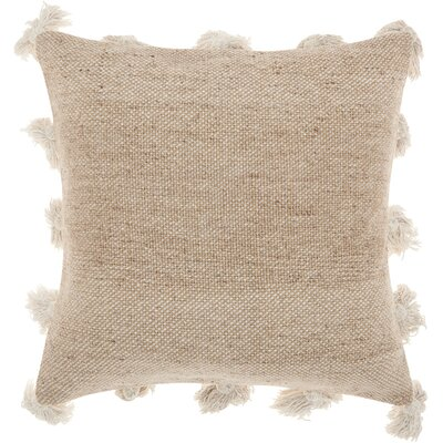 Mika Cotton Throw Pillow Color: Beige