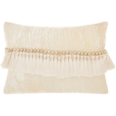 Mika Velvet Lumbar Pillow Color: Ivory