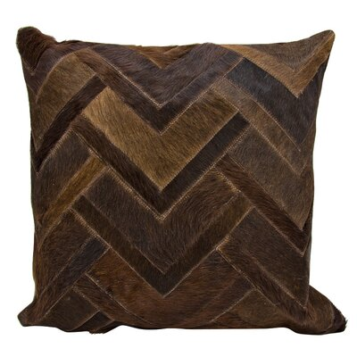 Natural Leather Hide Throw Pillow Color: Brown