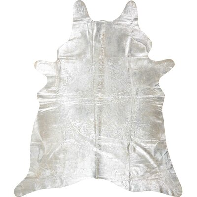 Bretta Leather Silver Area Rug
