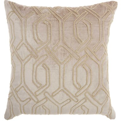 Tadashi Square Velvet Throw Pillow Color: Beige