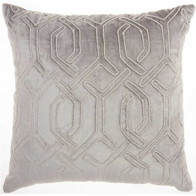 Tadashi Square Velvet Throw Pillow Color: Light Gray
