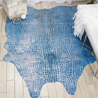 Bretta Leather Blue Area Rug