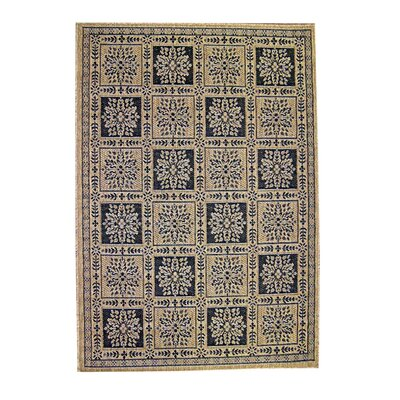 Patchwork Floral Black/Brown Indoor/Outdoor Area Rug Rug Size: 53 x 77