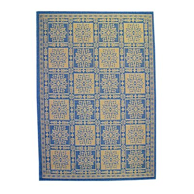 Patchwork Floral Blue Indoor/Outdoor Area Rug Rug Size: Round 67