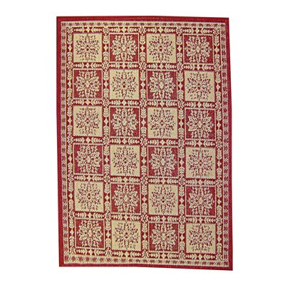 Patchwork Floral Red Indoor/Outdoor Area Rug Rug Size: 67 x 96