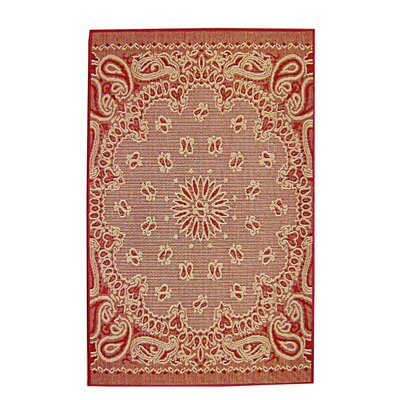 Bandana Red Indoor/Outdoor Area Rug Rug Size: 37 x 57
