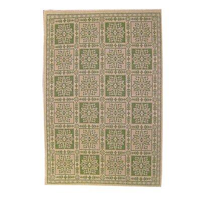 Patchwork Floral Green Indoor/Outdoor Area Rug Rug Size: 53 x 77