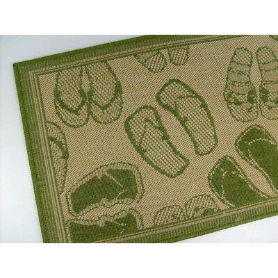 Flip Flops Honey/Emerald Indoor/Outdoor Area Rug Rug Size: 37 x 57