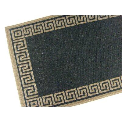 Greek Key Black/Brown Geometric Indoor/Outdoor Area Rug Rug Size: 53 x 76
