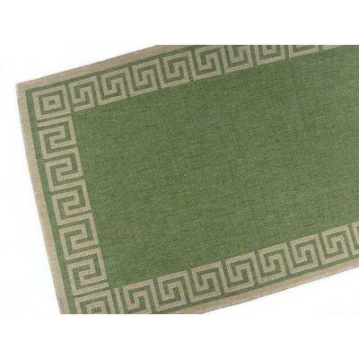 Greek Key Emerald Indoor/Outdoor Area Rug Rug Size: 28 x 44