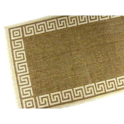 Greek Key Chocolate Brown/Tan Geometric Indoor/Outdoor Area Rug Rug Size: 37 x 57