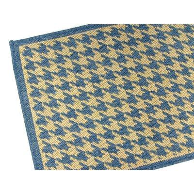 Houndstooth Blue Geometric Indoor/Outdoor Area Rug Rug Size: 37 x 57
