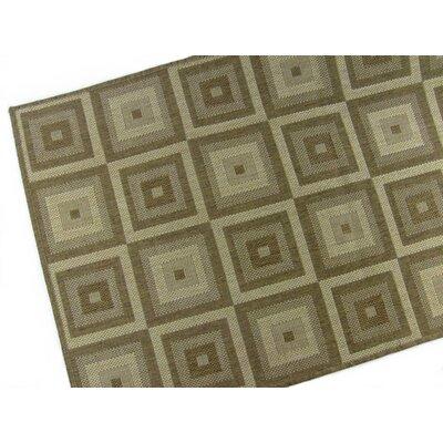 Pyramid Blocks Brown/Tan Indoor/Outdoor Area Rug Rug Size: 28 x 44