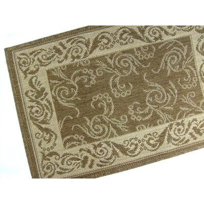 Scroll Chocolate Indoor/Outdoor Area Rug Rug Size: 28 x 44