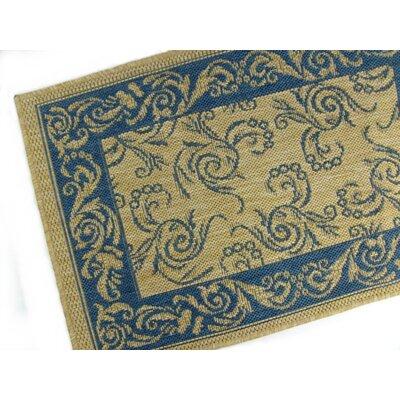 Scroll Blue Indoor/Outdoor Rug Rug Size: 37 x 57