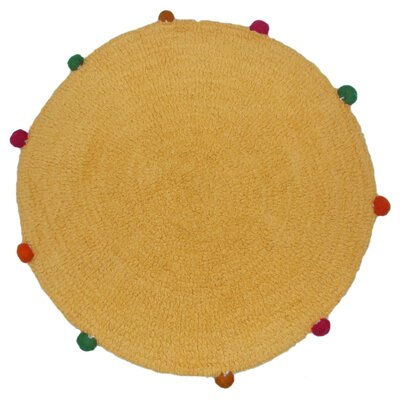 Powder Puff Accent Gold/Yellow Area Rug Rug Size: Round 26