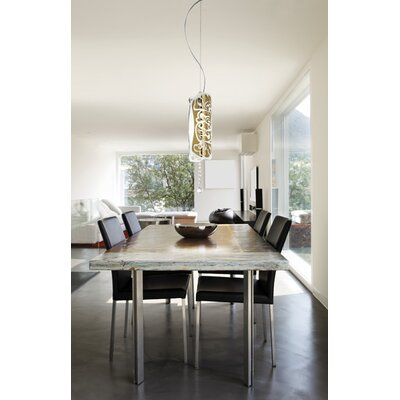 Charme S Suspension Color: White / Gold, Bulb Type: 1x100 E26
