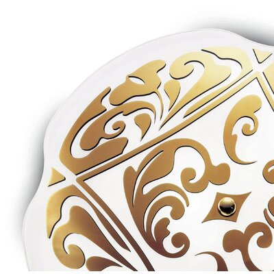 Charme P-Pl 2-Light Wall Ceiling Size: 7.5 H x 19.63 W, Finish: White / Gold, Bulb Type: 1x22 + 1x40 2GX13