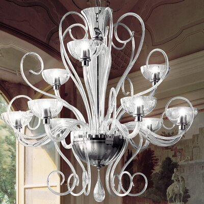 Bolero 9-Light Candle-Style Chandelier Color: White