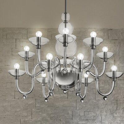 Danieli Suspension 6-Light Candle-Style Chandelier Finish: Chrome / Crystal