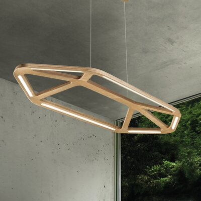 1-Light Kitchen Island Pendant Shade Color: Natural Okoume