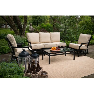 Villa 4 Piece Deep Seating Group with Cushion
