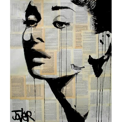 'And Her Bird Can Sing' by Loui Jover Painting Print on Wrapped Canvas Size: 35