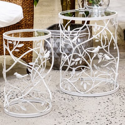 Plumville 2 Piece Nesting Tables Color: White
