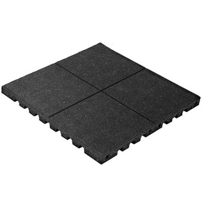 PlayFall 2.50 x 24 Playground Safety Surfacing Terra Cotta Rubber Tile in Black
