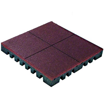 PlayFall 2.50 x 24 Playground Safety Surfacing Terra Cotta Rubber Tile in Red