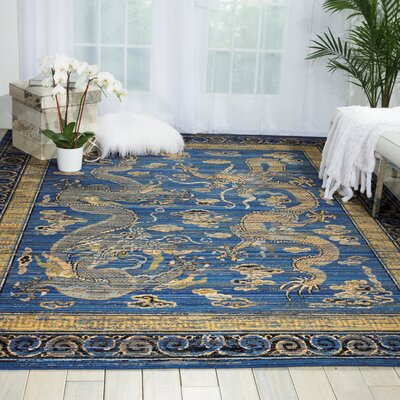 Dynasty Azure Blue Area Rug Rug Size: Rectangle 79 x 99