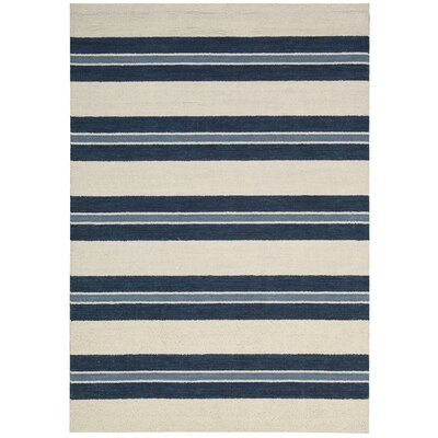 Oxford Navy/Ivory Awning Stripe Area Rug Rug Size: Rectangle 53 x 75