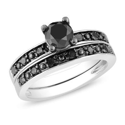 Amour Sterling Silver Black Rhodium Plated Black Diamonds Bridal Set Ring - Size: 5.5